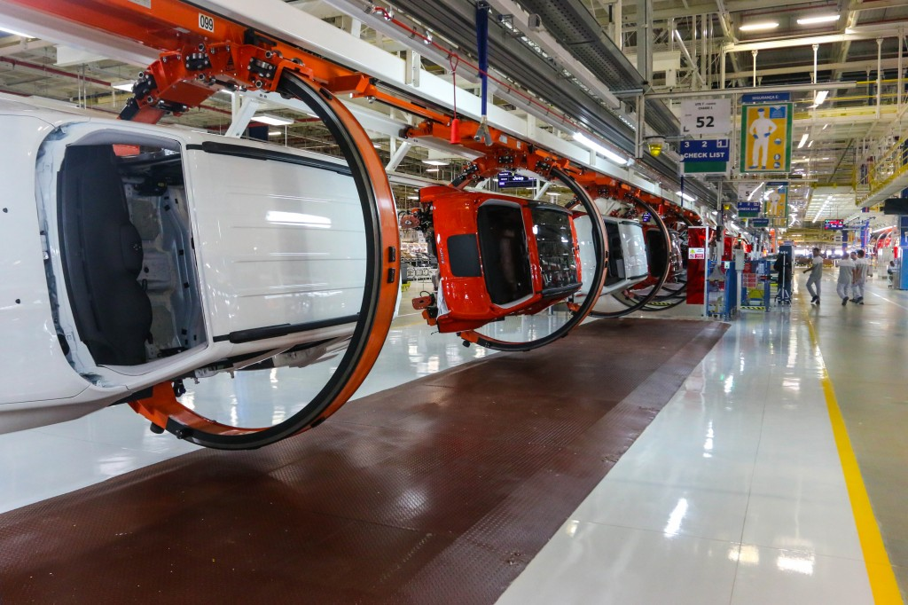 Jeep Renegade SUVs along the Assembly Line in Goiana, Pernambuco, Brazil.