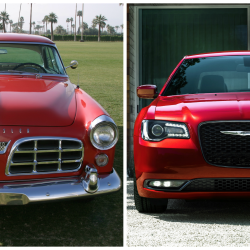 The original, 1955 Chrysler 300 (left)  and the latest version, redesigned for the 2015 model year.