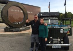 Linho Bergamin and Vanessa Sartori are taking a three-year honeymoon drive around the world in a 1946 Willys Wagon. They recently stopped at the Walter P. Chrysler Museum, Auburn Hills, Michigan.