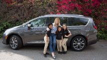 Chrysler PacifiKids pose in front of a 2017 Chrysler Pacifica with Brooklyn Decker