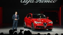 Reid Bigland, Head of Alfa Romeo, reveals the all-new 2018 Alfa Romeo Stelvio in front of global media at the 2016 L.A. Auto Show.