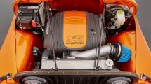 The 5.7-liter HEMI V-8 was installed in the Jeep CJ66 concept vehicle with a Mopar 345 Crate HEMI Engine kit.