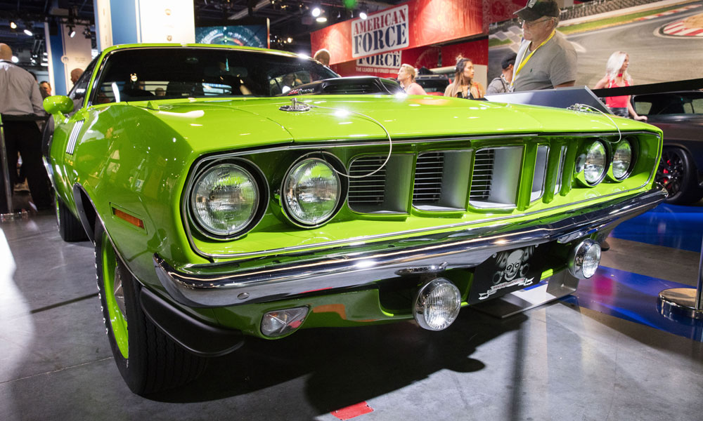 "One example of a restoration project is this 1971 Plymouth 'Cuda, restored by the TV show ""Graveyard Carz"" and featured in the Mopar stand during the 2016 SEMA show."