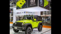 The Jeep Wrangler with the MoparONE Pack accessory kit made its debut at the Bologna Motor Show in Italy.