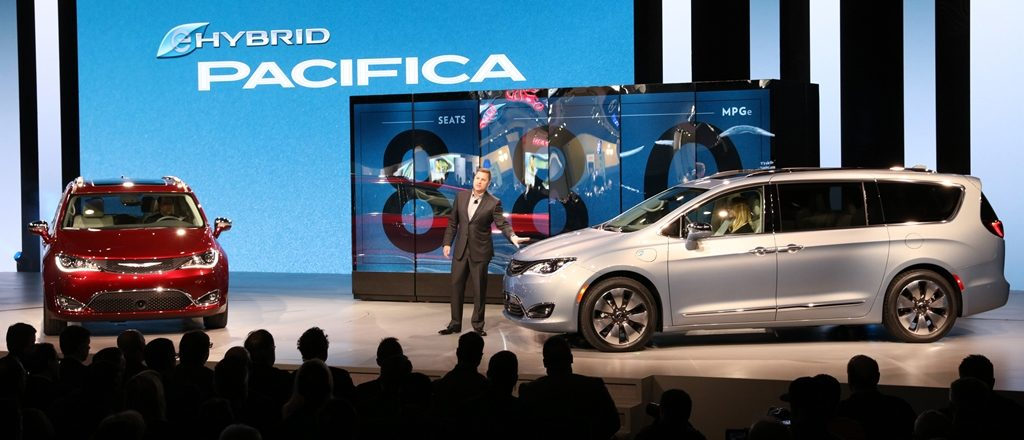 Tim Kuniskis, Head of Passenger Car Brands, FCA - North America, unveiled the all-new 2017 Chrysler Pacifica (left) and 2017 Chrysler Pacifica Hybrid at the North American International Auto Show.