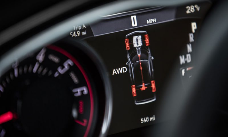 The display in the gauge cluster of the 2017 Dodge Challenger GT shows the percentage of engine torque being sent to each wheel.