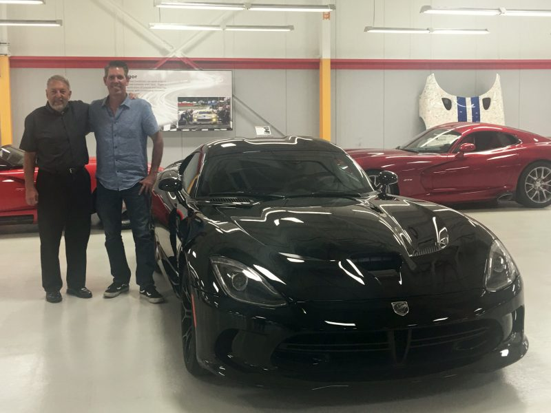 Mark Trostle, right, with his father at the Viper plant.