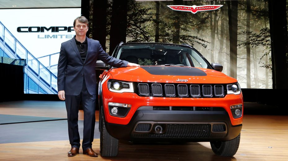 Mike Manley Head of Head of Jeep Brand – FCA Global showcases the all-new Jeep Compass during the European premiere of the vehicle at the 2017 Geneva Auto Show.