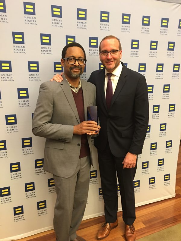 Bret Scot, Chair of the Gay and Lesbian Alliance at FCA US (l) accepts a Corporate Equality Index Award from Chad Griffin, President of Human Rights Campaign, at a recognition event in New York City on April 17.