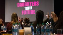 Mary Ann Kirsch, Director of Purchasing of Indirect Purchases, speaks during the Our Daughters, Their Future program on Tuesday, March 28, 2017.  (photo by Rob Widdis for FCA)