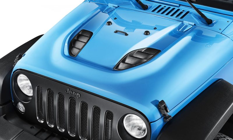 An accessory for the Mopar ONE Jeep Wrangler Rubicon is the vented hood.