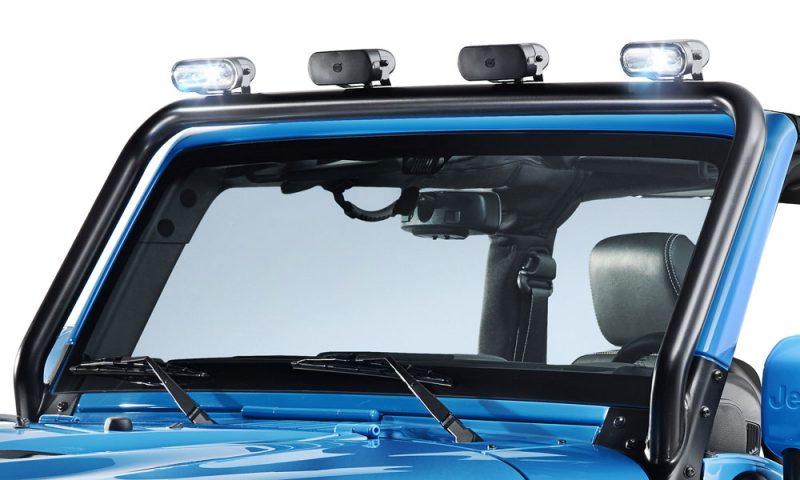 An A-pillar mounted light bar is an accessory for the Mopar ONE Jeep Wrangler Rubicon.
