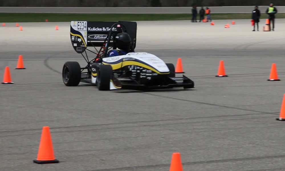 Students from the University of Michigan tested their SAE Formula electric vehicle during the Test & Tune event at FCA's Chelsea Proving Grounds.